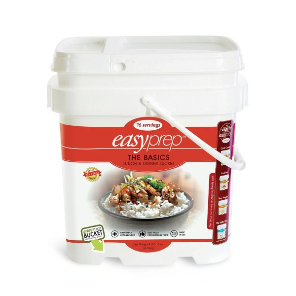 4 PACK - EasyPrep The Basics Lunch and Dinner Bucket - 76 Servings